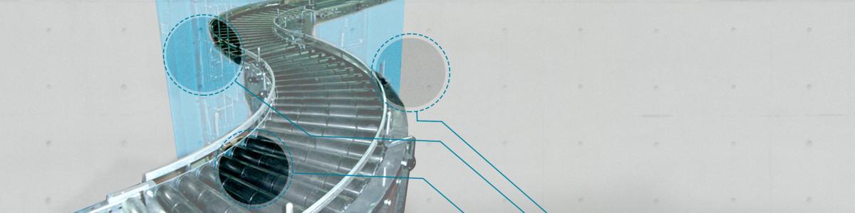 transportadores de rodillos Convex y transportadores motorizados Convex para el manejo de cajas y palets en  instalaciones industriales
