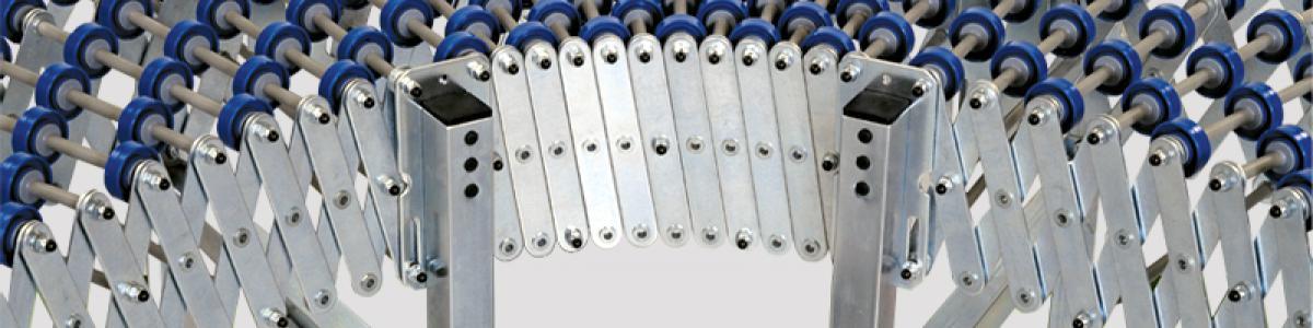 transportadores de rodillo Convexextensibles para finales de línea y el traslado de cajas y palets en instalaciones industriales