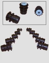 Cabezales con piñón Convex  de poliamida o acero inoxidable. Serie CB400 para transportadores motorizados y traslado de cargas en instalaciones industriales