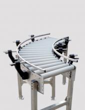 Curva de rodillos gravedad CVG150 chasis de acero con rodillos de gravedad
