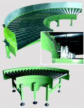 Curva motorizada de rodillos accionada mediante bucles de cadena metálica de 1/2'' para transportadores de rodilllos Convex