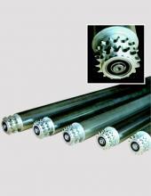Rodillos serie CX5000 con piñón simple o doble para transportadores de rodillos en instalaciones industriales