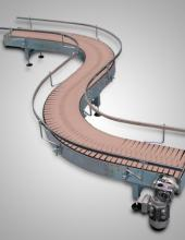 Transportador motorizado de charnela doble curva de Convex serie TCH140D