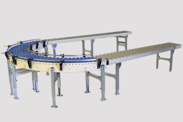 Curva de roldanas Convex  accionadas por gravedad para el transporte de cajas en instalaciones industriales