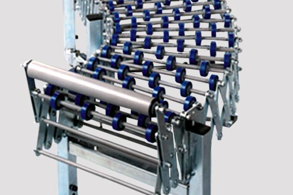 Transportador extensible de roldanas Convex. Construido en acero cincado o inoxidable. Longitudes y anchos especiales bajo demanda.